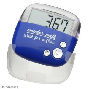 Personalized Flip Clip Pedometer - Blue